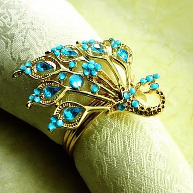 cristal inel păun șervețel, beades acrilice, 4,5 cm, set de 12,