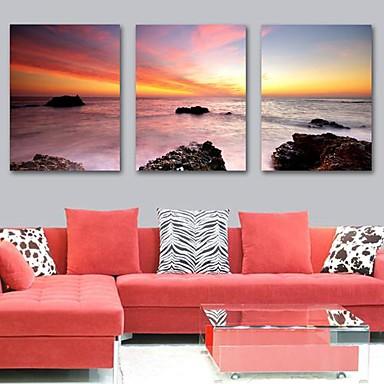 Kunstdruk op gespannen doek kunst landschap zonsopgang op zee set van 3