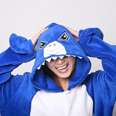 Kigurumi Pyjama  Shark Gympak/Onesie / Slippers Festival/Feestdagen Animal Nachtkleding Halloween Blauw Patchwork Knuffelfleece Kigurumi