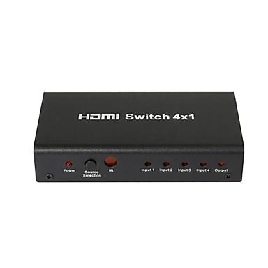4 port 1080p hdmi automatische schakelaar splitter switcher hub doos kabel LCD HDTV, metalen behuizing met voedingsadapter