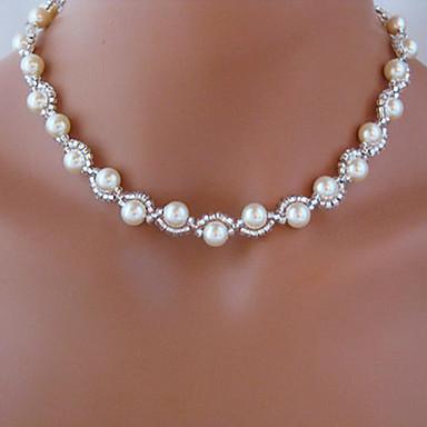 billige Mote Halskjede-Strands halskjede Rosary Chain Imitert Perle Hvit Halskjeder Smykker Til Bryllup Fest Daglig Avslappet