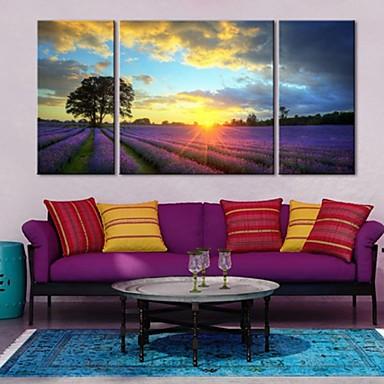 artă panza întinsă în apus de soare de peisaj agricole lavandă set de 3
