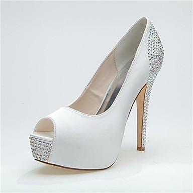 Damen Schuhe Satin Frühling Sommer Stöckelabsatz Plattform für Hochzeit Party & Festivität Schwarz Weiß Rosa Silber Blau