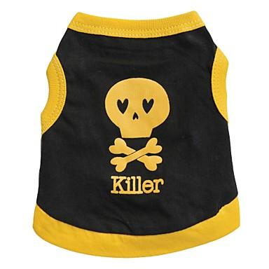 Katze Hund T-shirt Hundekleidung Herz Totenkopf Motiv Schwarz Gelb Blau Schwarz/Gelb Baumwolle Kostüm Für Haustiere