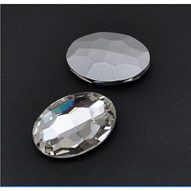 Bello 30*20mm Fashion Cellphone Beauty Oval Transparent Acrylic Faceted Sticky Rhinestones Gems(5 Pcs) #01986036