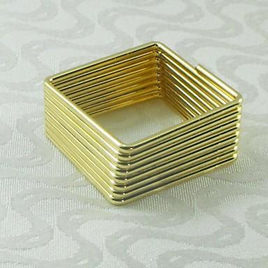aur pătrat inel pentru șervețele de argint, din metal, de 4,5 cm, set de 12