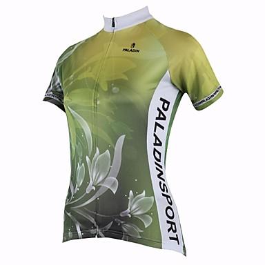 ILPALADINO Pentru femei Manșon scurt Jerseu Cycling - Verde Floral / Botanic Bicicletă Uscare rapidă, Rezistent la Ultraviolete,