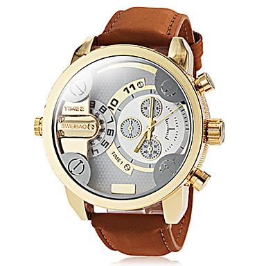 Herrn Quartz Armbanduhr Militäruhr Armbanduhren für den Alltag Duale Zeitzonen Leder Band Charme Kleideruhr Modisch Braun