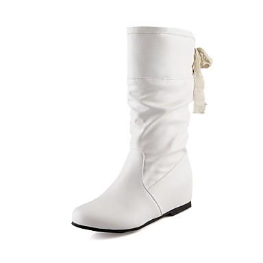 Dames Schoenen Kunstleer Winter Herfst Sleehak 25,4 tot 30,48 cm Kuitlaarzen Veters voor Formeel Zwart Wit Bruin