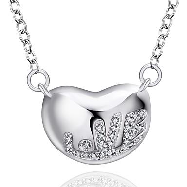 Damen Halsketten Anhängerketten Anhänger Synthetische Edelsteine Sterling Silber Zirkon Kubikzirkonia Liebe Schmuck Für Hochzeit Party