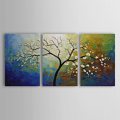 Oil Painting Hand Painted - Floral / Botanical Canvas Three Panels