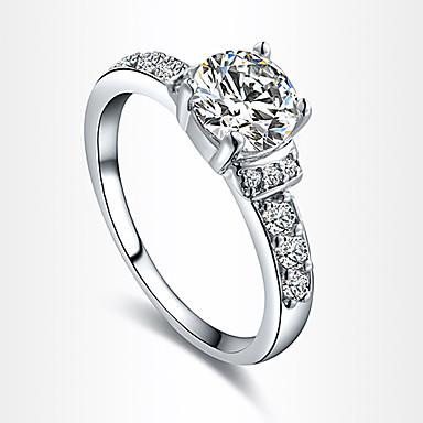Dames Luxe Zirkonia / Kubieke Zirkonia / Verzilverd Statement Ring - Luxe / Liefde / Hart Zilver Ring Voor Feest / Dagelijks / Causaal
