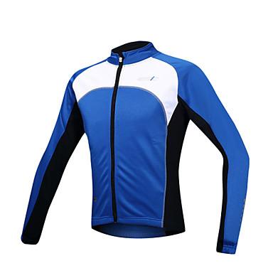 SANTIC Miesten Pyöräilytakki Pyörä Takki / Jersey / Topit Pidä lämpimänä, Tuulenkestävä, Fleece-vuori Patchwork Spandex, Fleece Sininen