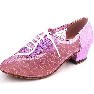 baratos Shall We® Sapatos de Dança-Mulheres Sapatos de Dança Sintéticos Sapatos de Dança Moderna / Dança de Salão Lantejoulas Salto Salto Baixo Não Personalizável Púrpura / Azul Claro / Azul Real / EU41