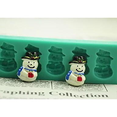 Weihnachtsschneemann-Geschenk-Fondant-Kuchen Schokolade Silikonform Kuchen Dekorationswerkzeuge, l12 * w4 * h1.3cm