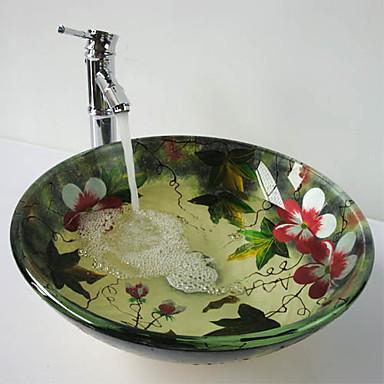 Çağdaş Yuvarlak Emici Malzeme olduğunu Temperli Cam Banyo Musluğu Banyo Montaj Halkaları