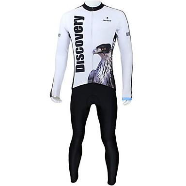 ILPALADINO Herrn Langarm Fahrradtrikots mit Fahrradhosen - Weiß Fahhrad Kleidungs-Sets, Atmungsaktiv, warm halten, Rasche Trocknung, Fleece Innenfutter Vlies Eagle
