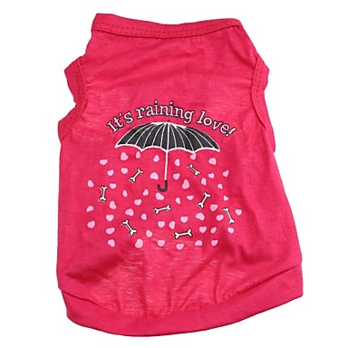 Кошка Собака Футболка Одежда для собак С сердцем Мультипликация Розовый Хлопок Костюм Для домашних животных