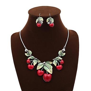 femei senlan este un set de cireș roșu colier drăguț și cercel