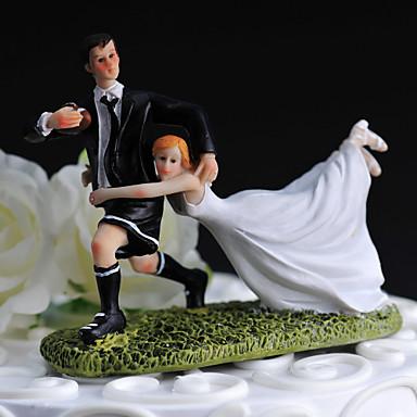 Vârfuri de Tort Amuzant & Reticent Sport Reșină Nuntă Temă Clasică Cutie de Cadouri