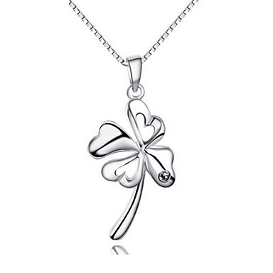 Women's Pendant Necklace - Sterling Silver Clover Screen Color Necklace For