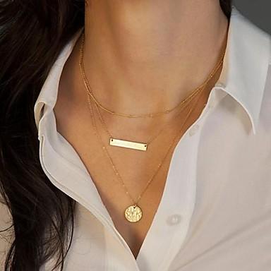 billige Mote Halskjede-Anheng Halskjede Multi Layer Europeisk Mote Multi Layer Legering Gylden Halskjeder Smykker Til Daglig Avslappet