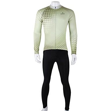 ILPALADINO Herr Långärmad Cykeltröja och tights - Svart/grön Cykel Klädesset, Snabb tork, Andningsfunktion