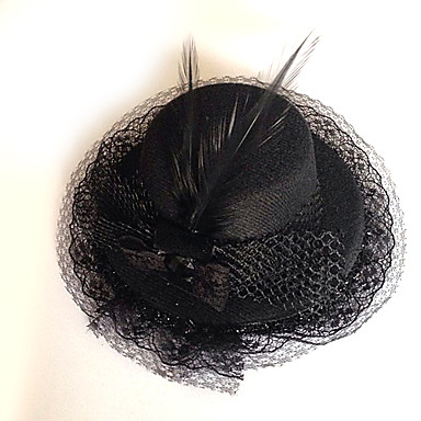 Lolita Jewelry Gothic Lolita Headwear Lolita Black Lolita Accessories Headpiece Hat Solid For Men/Women Polyester Feather Lace