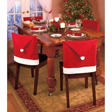 1pc kerst en feest decoraties santa rode hoed stoel back covers