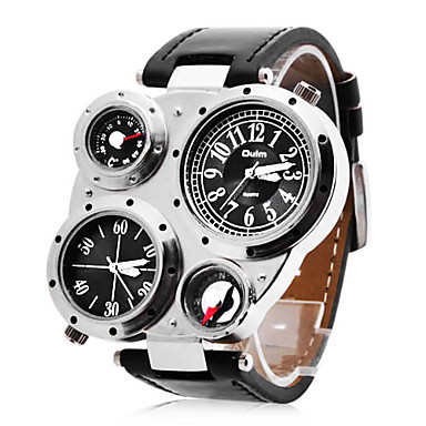 개인 선물 시계, 듀얼 타임 존 일본 쿼츠 시계 With 합금 케이스 재질 PU 밴드 밀리터리 시계 방수 깊이