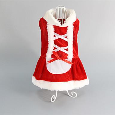 Kat Hund Kjoler Hundeklær Rød Bomull Kostume For kjæledyr Dame Bryllup Jul