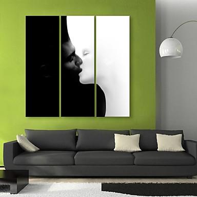 e-Home® opgespannen doek kunst kus decoratief schilderen set van 3