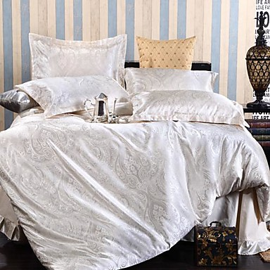 Bettbezug-Sets Blatt 4 Stück Seidenimitat Jacquard Seidenimitat 4-teilig (1 Bettbezug, 1 Bettlaken, 2 Kissenbezüge)