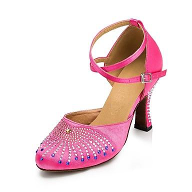 Жен. Обувь для модерна Синтетика На высоких каблуках Стразы Каблуки на заказ Персонализируемая Танцевальная обувь Персик / Черный