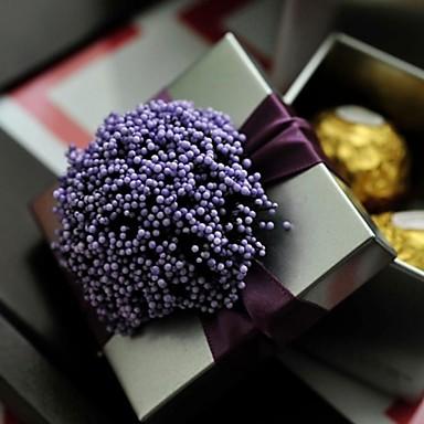 Kube Jern (nikkelbelagt) Gaveholder med Bånd Blomst Gavebokse