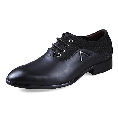 Heren Schoenen Leer Lente / Herfst Comfortabel Oxfords Geelbruin / Zwart / Bruin / Formele Schoenen / Leren schoenen