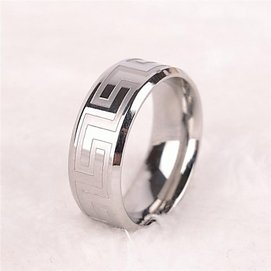 Bărbați Teak Inel Band Ring - Vintage Casual stil minimalist European Argintiu Inel Pentru Cadou