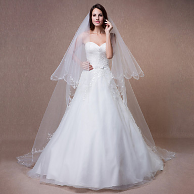 Two-tier Beaded Edge Wedding Veil Chapel Veils 53 Sequin Embroidery Bead Ruched Tulle