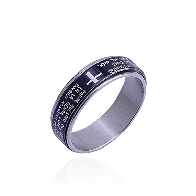Men's Band Ring - Stainless Steel Cross Unique Design, Fashion 8 / 9 / 8½ Black For Daily