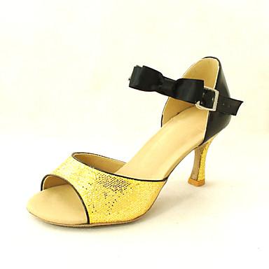 Women's Sparkling Glitter Ankle Strap Latin / Ballroom Women's Dance Shoes Customizable