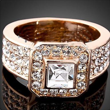 Dame Krystall Statement Ring - Rose gull, Kubisk Zirkonium, Fuskediamant Luksus, Mote En størrelse Skjermfarge Til Fest