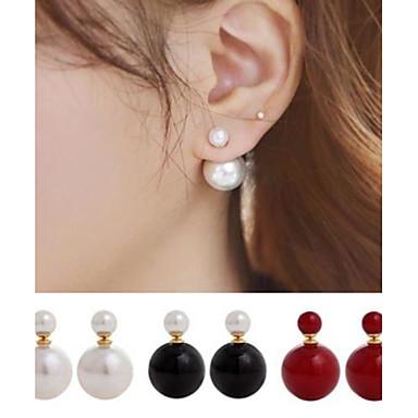 Women's Ball Pearl Imitation Pearl Stud Earrings Front Back Earrings - Double Sided Simple Style Light Green Champagne Dark Green Earrings