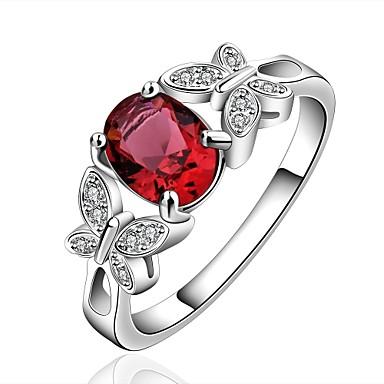 Női Kocka cirkónia Cirkonium - Állat Divat Piros / Világosbarna Gyűrű Kompatibilitás Esküvő / Parti / Napi