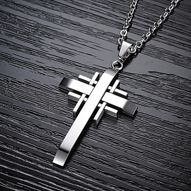 Men's Pendant Necklace - Titanium Steel, Gold Plated Cross Black, Silver, Golden Necklace For Christmas Gifts, Wedding, Party