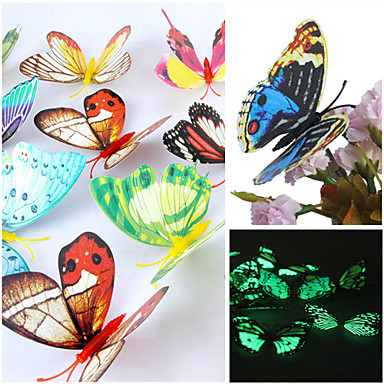 3d muurstickers muur stickers, lichtgevende prachtige vlinder pvc muurstickers (willekeurige mix kleuren) (12 stuks)