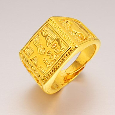 Herre Statement Ring - Gullbelagt Unikt design, Mote 9 Til Bryllup Fest Daglig