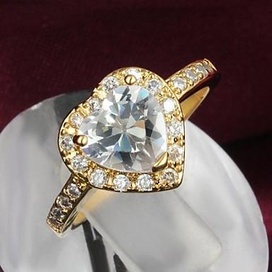 Fashion Golden Heart Shape Zircon Statement Ring For Women (1 pc)