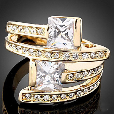 Women's Statement Ring - Zircon, Cubic Zirconia, Gold Plated Luxury, Fashion One Size Screen Color For Party / Imitation Diamond / Alloy