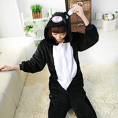 Kigurumi Pyjamas Kat Trikot/Heldragtskostumer Festival/Højtider Nattøj Med Dyr Halloween Sort Patchwork Polarfleece Kigurumi Til Unisex
