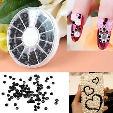 600 Pcs 3mm Manicure Pearl Flat Semicircular Boxed Black Pearl Nail Art Decorations